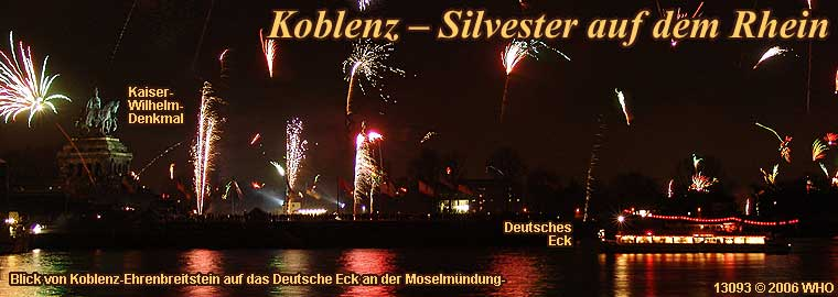Silvester auf dem Rhein mit Silvesterschifffahrt bei Koblenz
